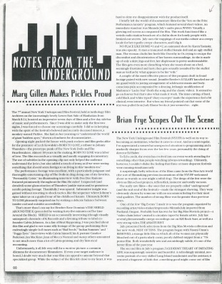 """Notes from the Underground"", Mary Gillen on ""Sex on the Fritz"" curated by Astria Suparak at the New York Underground Film Festival, 2000."