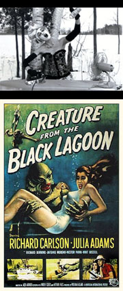 """Still from """"Mother Nature"""" by Cathy Cook; Poster for """"The Creature from the Black Lagoon"""""""