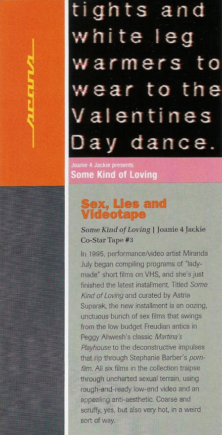 """Sex, Lies and Videotape,"" review of Some Kind of Loving by Holly Willis. RES Magazine, 2000."