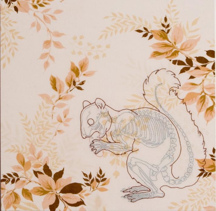 A. Vander Kooij, Squirrel, (embroidery on vintage bedsheet, 2006)