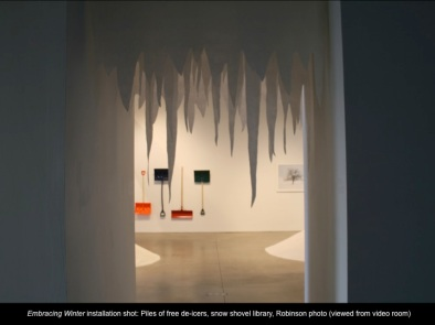 Installation shot (felt icicles from video room)
