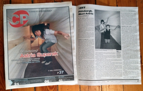 Cover article in the Pittsburgh City Paper, with photograph taken inside the Your Town, Inc. installation.