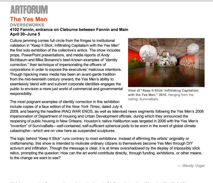 Artforum Critic's Pick: Keep It Slick