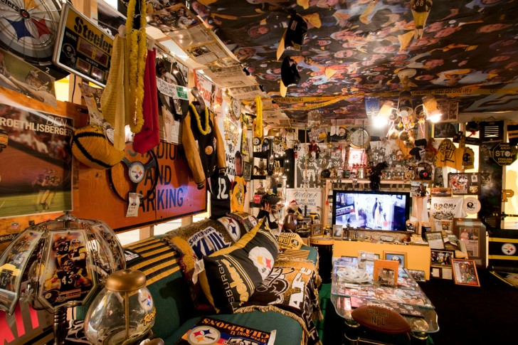 Denny DeLuca's Steeler Room Fan, a basement room moved in its entirety to the gallery