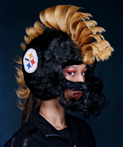 """Steelers Hair Helmet,"" design by Little Willie, photograph by David Yellen from the book Hair Wars, 2006."