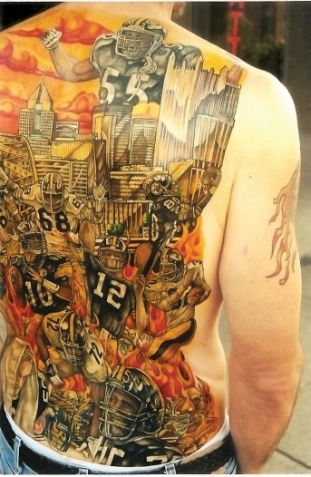 Steeler Ron, tattoo by C. Blick of American Tattoo