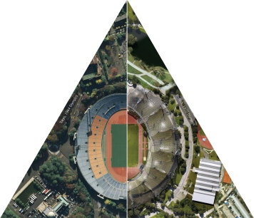 Olympic Stadiums: Tokyo 1964/Munich 1972 (detail from Global Cities, Model Worlds installation in Pittsburgh Biennial), Lize Mogel, Sarah Ross, and Ryan Griffis, 2011