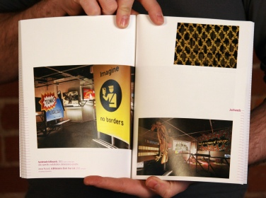 Spread of Justseeds installation at CMU's Miller Gallery. Pittsburgh Biennial 2011 catalog. Photo: Brett Yasko.