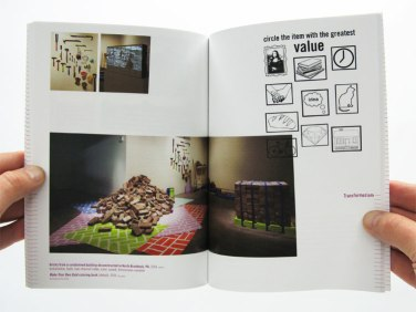Spread of Transformazium installation at CMU's Miller Gallery. Pittsburgh Biennial 2011 catalog. Photo: Brett Yasko.