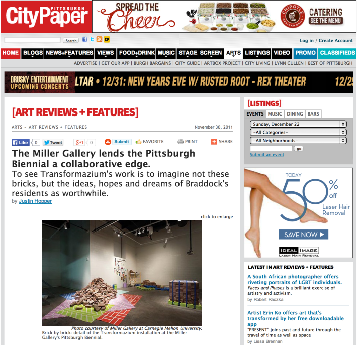 "City Paper feature: ""The Miller Gallery lends the Pittsburgh Biennial a collaborative edge"""