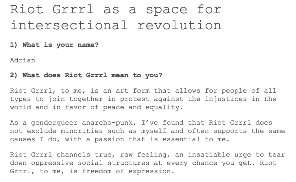 RG Census - Columbian genderqueer anarcho-punk