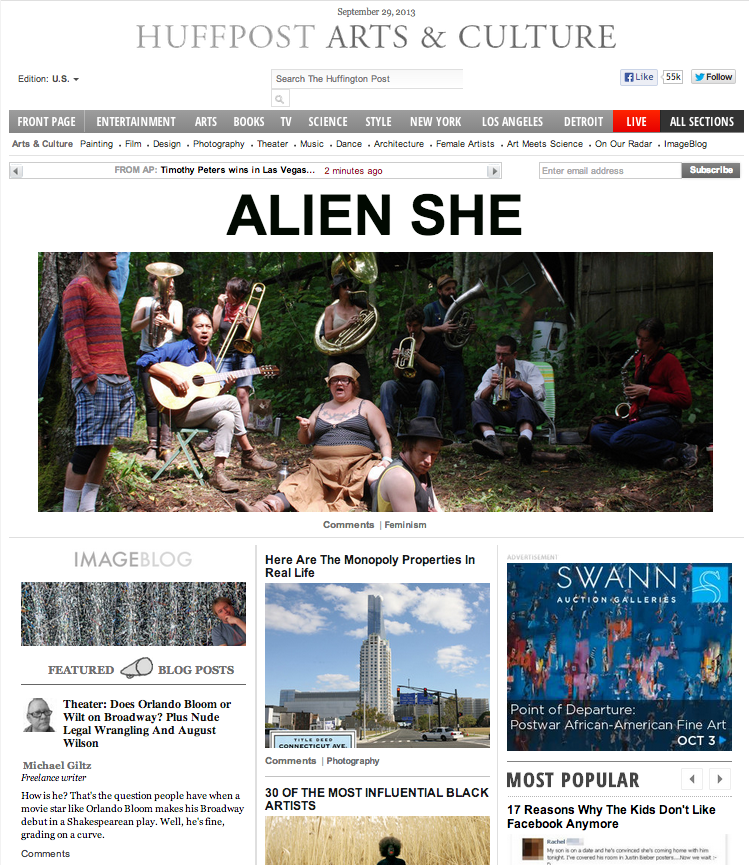 Huffington Post banner and feature on Alien She