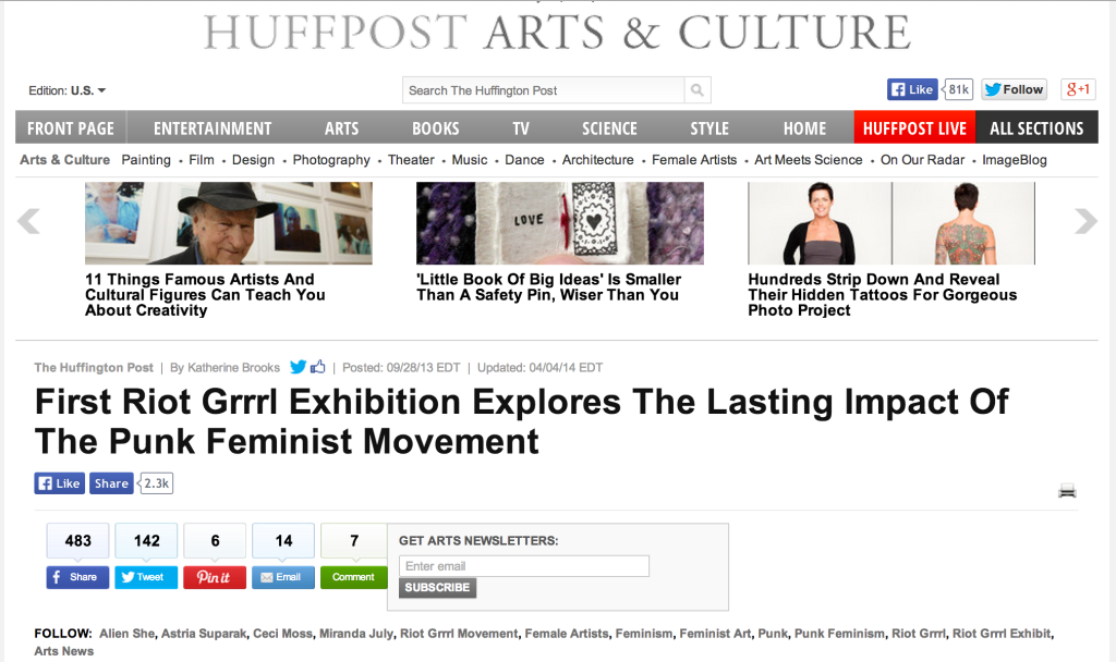 Over 3,000 Shares and Likes of the Huffington Post's feature on Alien She!
