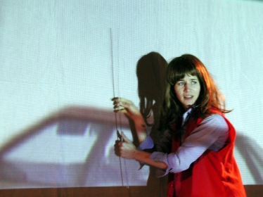 Photo documentation of The Swan Tool, performance by Miranda July, 2001. Photograph by David Nakamoto