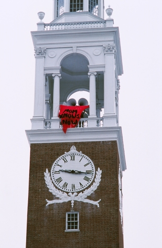 Mom Knows Now (guerilla banner drop on the steeple of the Ira Allen Chapel, University of Vermont, Burlington, VT), L.J. Roberts, hand-knit yarn. 15' x 10' x 10,' 2003