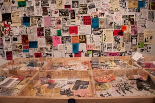 Installation shot: Posters (c. 1991-present) from Riot Grrrl related shows, conventions and meetings internationally, and Regional Music Playlists.