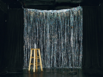 I'm Dying Up Here (Glitter Drapes), Tammy Rae Carland, 2011; photograph; 30 x 40 in. Courtesy of the Artist and Jessica Silverman Gallery, San Francisco.