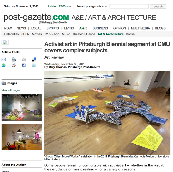 Post-Gazette on 2011 Pittsburgh Biennial at CMU