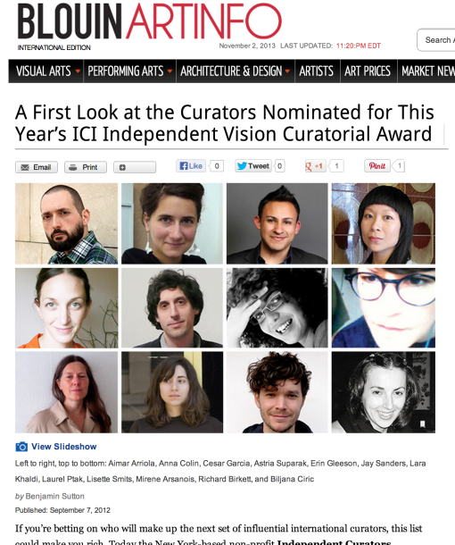 Art Info - ICI Award Nominees