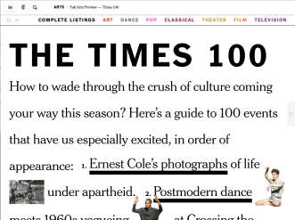 New York Times Fall Arts Preview