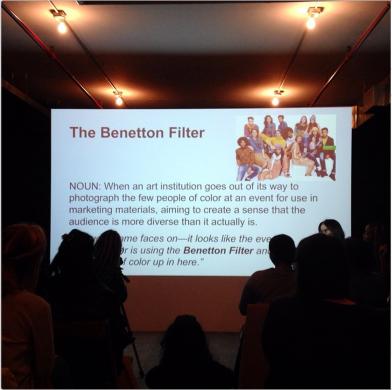 """""""Benetton Filter,"""" Women Inc. Lexicon at Artists Space, New York. Photo by @jilnotjill (Jillian Steinhauer)."""