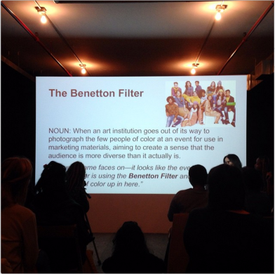 """Benetton Filter,"" Women Inc. Lexicon at Artists Space, New York. Photo by @jilnotjill (Jillian Steinhauer)."