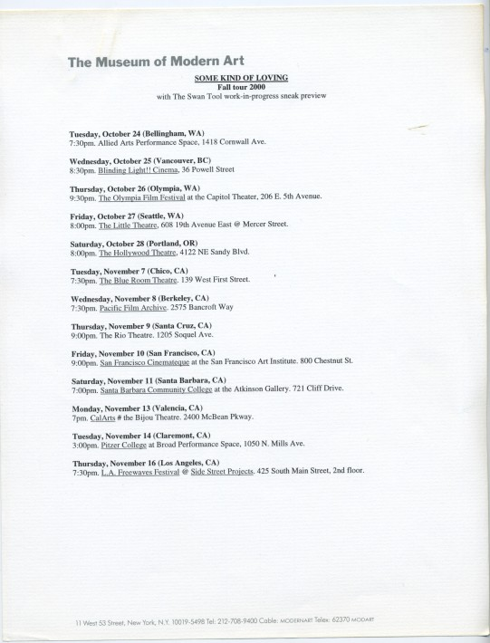 "Some Kind of Loving tour dates, typed on MoMA letterhead. January 2001. From the collection of SKL curator Astria Suparak.  ""I was interning at the Museum of Modern Art at this time and 'borrowed' some letterhead to draft a post-tour report to the Some Kind of Loving artists, which included copies of all press reviews received. I'm pretty sure I didn't mail anything on behalf of Joanie 4 Jackie on this letterhead, and was just using the office printer after-hours. Pretty sure."" - Astria Suparak, Getty Iris, 2017"
