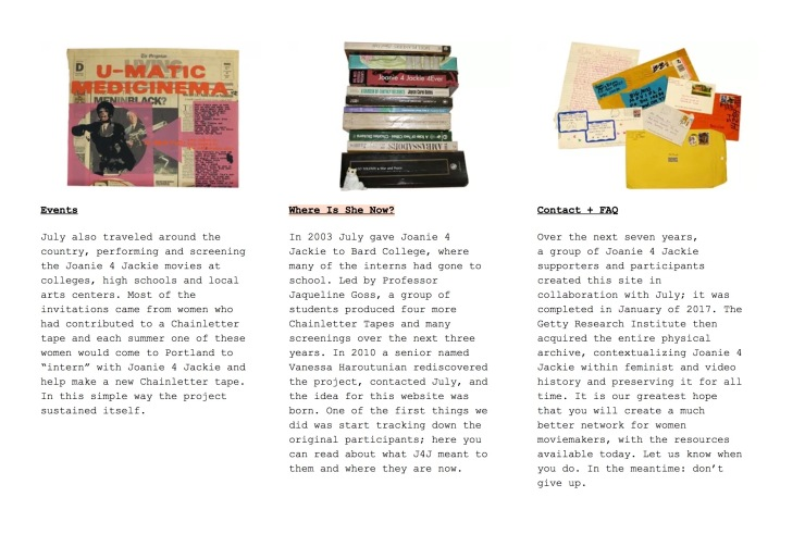 Screenshot of the homepage for the complete digital archive of joanie4jackie.com, a project by Miranda July with the help of Yuri Ono, Matt Wright, Astria Suparak, Vanessa Haroutunian and The Joanie 4 Jackie Tutorial students at Bard College.
