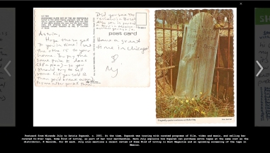 The archive includes many documents including personal letters, research notes, grant applications, and posters. Here: Postcard from Miranda July to Astria Suparak, c. 2001