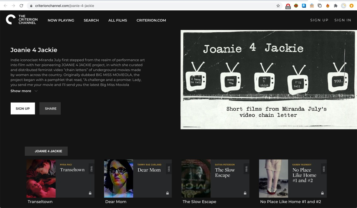 Criterion Channel: Joanie 4 Jackie selection