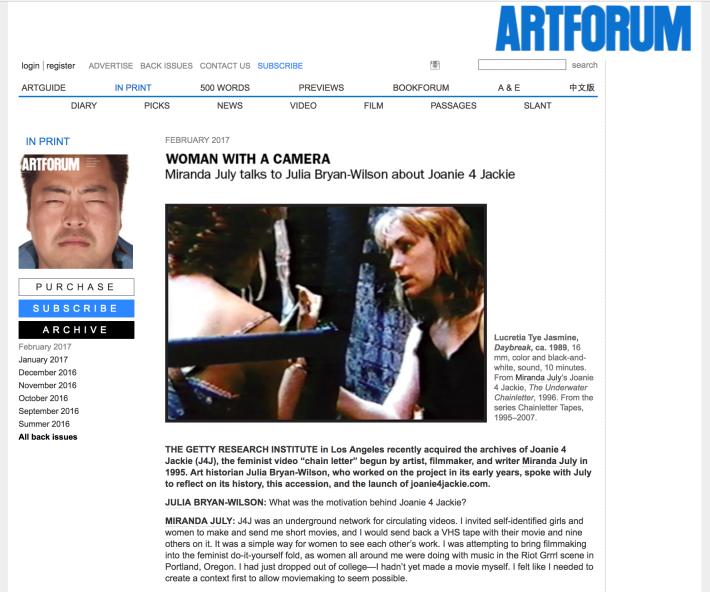 "Screengrab of ""Woman With A Camera,"" Miranda July and Julia Bryan-Wilson, ARTFORUM, February 2017"