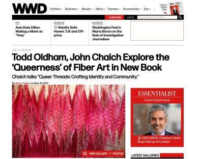 "WWD: ""Todd Oldham, John Chaich Explore the 'Queerness' of Fiber Art in New Book,"" Alexa Tietjen, 2017. (screenshot)"