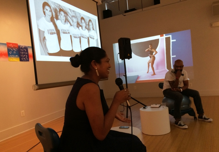 """Kavitha Davidson and Kevin Blackistone, """"Sports and Politics discussion,"""" within the """"Power Forward"""" exhibition at VisArts, Rockville, MD."""