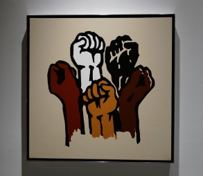 "Hank Willis Thomas' ""Bread and Roses"" (2012), in Power Forward."