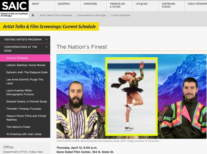 "Screengrab from ""The Nation's Finest"" on Conversations at the Edge, SAIC website."