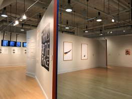 "Installation view of ""Power Forward"", with work (from left to right) by Nicolas Lampert, Zhang Qing, Ayanah Moor, Haig Aivazian, Cara Erskine."
