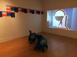 "Installation view of ""Power Forward"", with work by Karen Kraven (left) and Macon Reed (right)"