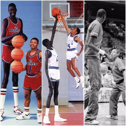 """1987-88 – The tallest and shortest players in NBA history played on the same team, the Bullets. Point guard Tyrone Curtis """"Muggsy"""" Bogues (born in Baltimore), one of the fastest players on the court, stood at 5'3"""". Center Manute Bol, 7'7"""", was one of best shot-blockers in the history of the sport. With a 28 inch difference between them, Bogues and Bol appeared on three magazine covers together."""