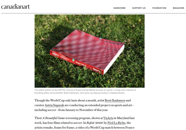 Screenshot of Canadian Art feature on INCITE Journal: Sports