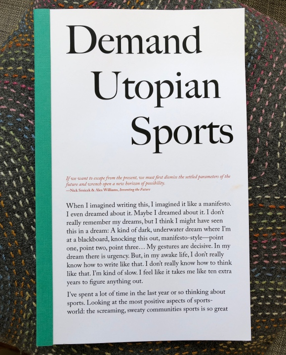 Front cover, Demand Utopian Sports (Wolfman Books, 2018)