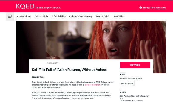"""Sarah Hotchkiss, """"Sci-Fi is Full of 'Asian Futures, Without Asians',"""" THE DO LIST, March 2020"""