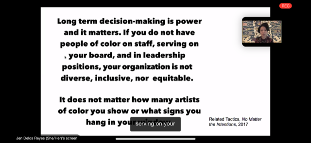"""Screenshot of Suparak presenting an image by Related Tactics in """"Matching Minorities//Doubtful Doubles"""" presentation over Zoom for Common Field Convening 2020. Screenshot taken by Nick Wylie."""