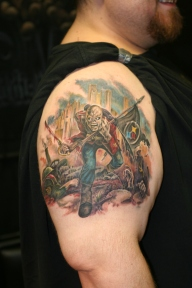 Steelers tattoo (Iron Maiden album cover with zombie + Pittsburgh + Steelers), work by Jason Angst of Tattoo Noir.