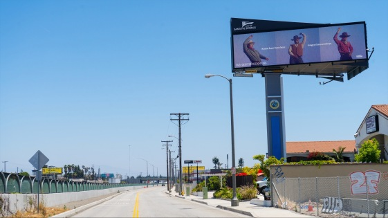 """""""Asians have been here..."""" billboard by Stop DiscriminAsian for For Freedoms, Los Angeles, May-June 2021. Photo by Job Piston."""