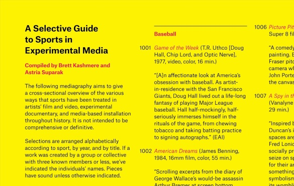 """From """"A Selective Guide to Sports in Experimental Media,"""" by Brett Kashmere and Astria Suparak, INCITE Journal #7/8: Sports (2018)."""