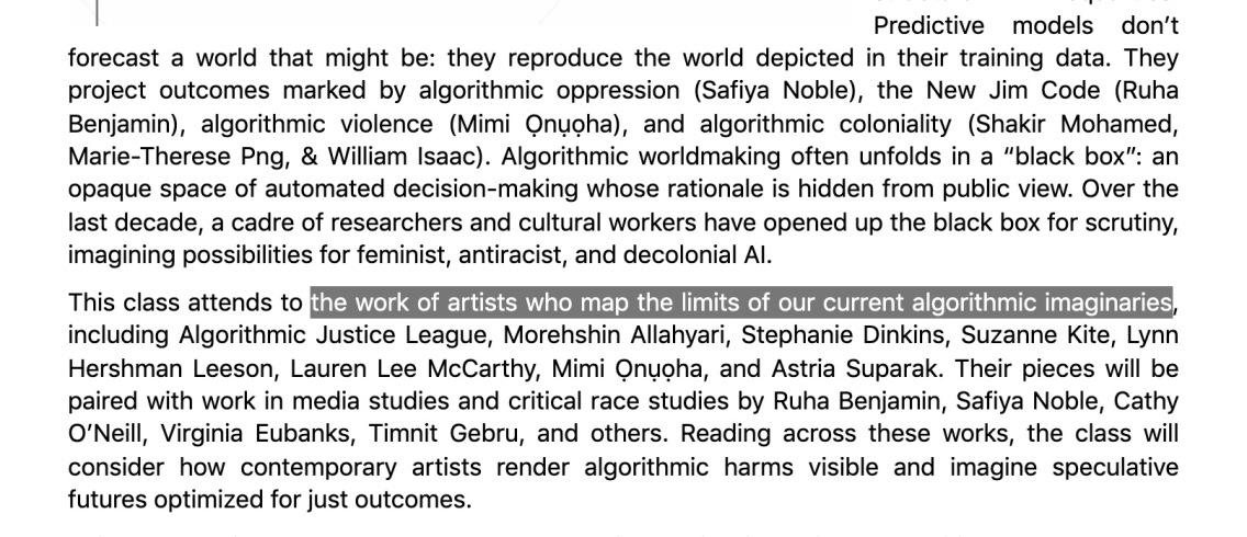 "Screenshot of syllabus for ""Art, AI, & The Aesthetics of Algorithmic Justice"" (Mashinka Firunts Hakopian)."